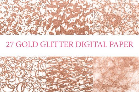 27 Pack Gold Glitter Digital Paper