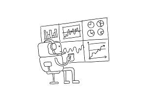 Sketch robot alien character keeps track of the diagrams. Stock exchange. Bot broker looks at the monitor statistics. Hand drawn black line vector illustration.