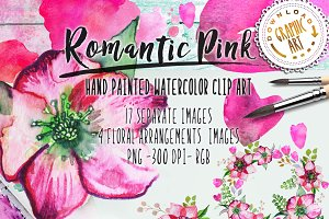 Watercolor clipart&#x3B; Romantic wreath