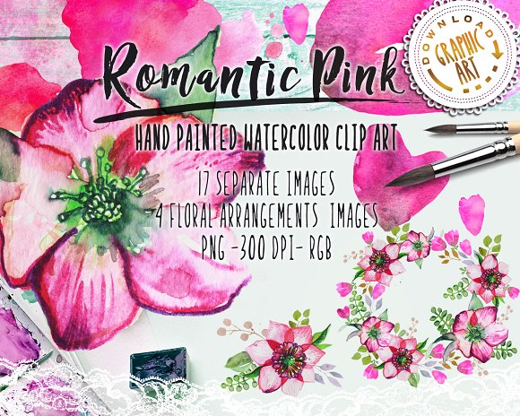 Watercolor Clipart Romantic Wreath