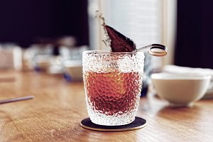Cocktail with dried pear, toned