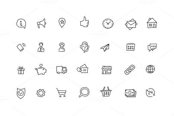 Popular Icons Sketch Set Outline Line Drawing By Hand Hand Drawn Collection Black Line Vector Illustration