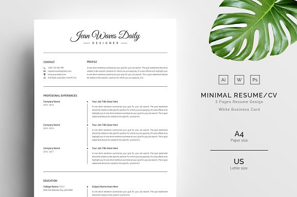 3 Pages Clean Resume CV