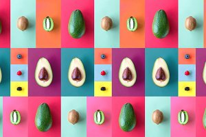 Pattern made from Avocado and fruit.