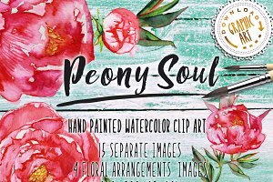 Watercolor clipart&#x3B; Peony wreath