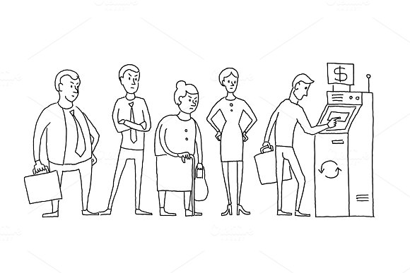 People Standing And Waiting In Line Queue ATM Cash Dispenser Humans Are Queued Hand Drawn Black Line Vector Stock Illustration