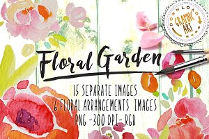 Watercolor clipart&#x3B; Floral wreath