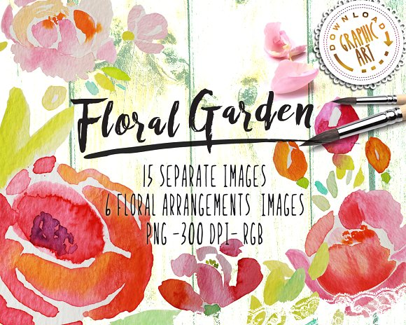 Watercolor Clipart Floral Wreath