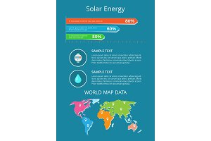 Solar Energy World Map Data Text Sample Poster