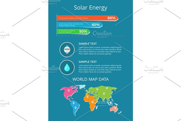 Solar Energy World Map Data Text Sample Poster