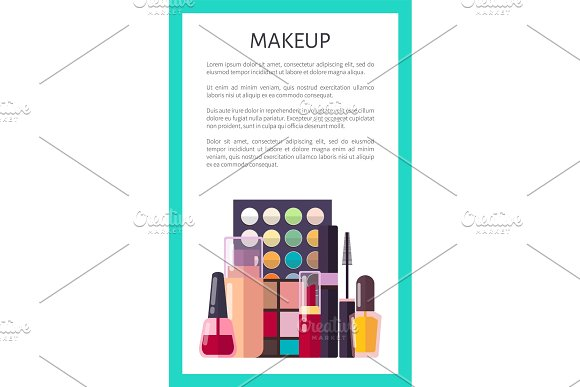 Makeup Placard And Text Vector Illustration Poster