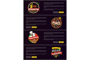 Pizzeria Italiano Web Set Vector Illustration