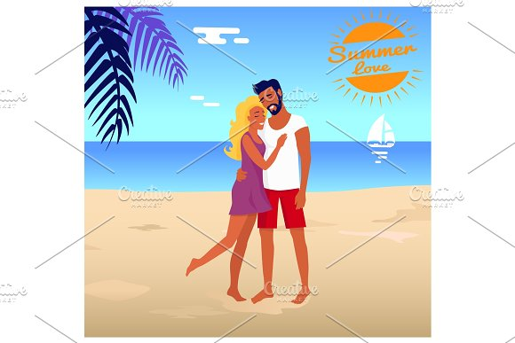 Couple Stands And Hugs On Beach In Palm Shade