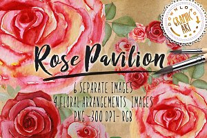 Watercolor clipart&#x3B; Rose wreath