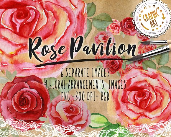 Watercolor Clipart Rose Wreath