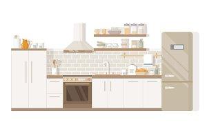 Kitchen interior home furniture table, stove and fridge
