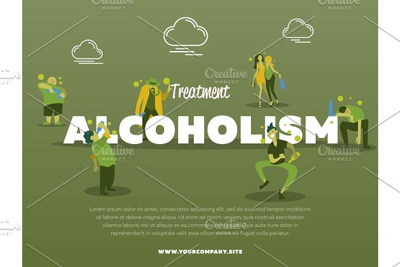 Treatment Alcoholism Banner With Drunk Alcoholic