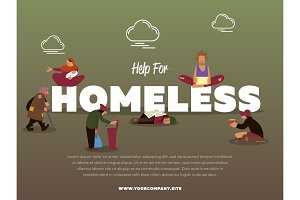 Help for homeless banner with hungry beggar