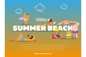 Holidays on summer beach banner