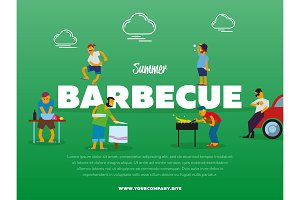 Summer barbecue party banner with people