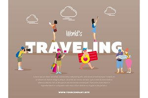 World traveling banner with people