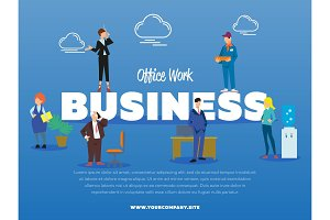 Office work business banner with people