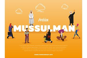 Arabian mussulman banner with people