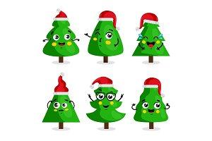 Green Christmas tree cartoon characters