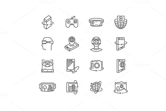 Virtual Reality Technologies Icon Set