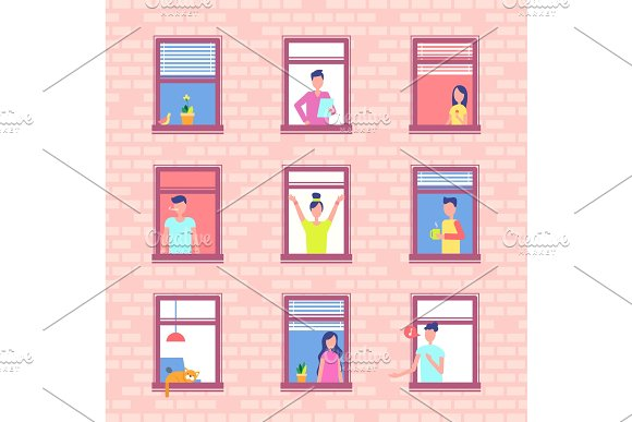 People In Window Frames Inside Red Brick Wall