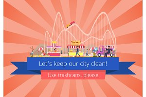 Lets Keep Our City Clean, Vector Illustration