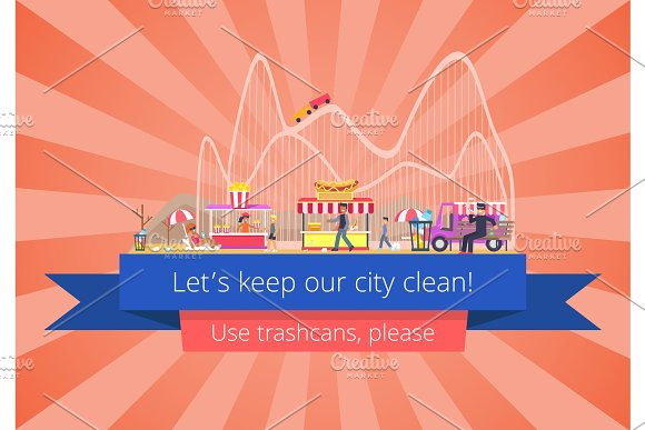 Lets Keep Our City Clean Vector Illustration