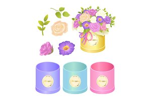 Boxes and Flowers Collection Vector Illustration
