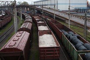 Freight trains on city cargo termina