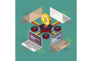 Mining cryptocurrency blockchain crypto money decorative elements isometric vector illustration
