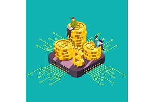 Digital currency cryptocurrency GPU mining Isometric vector illustration.