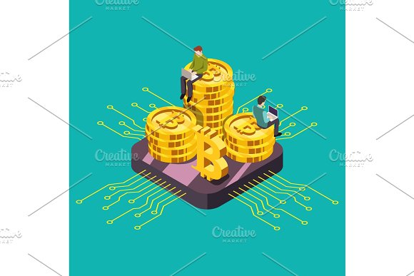 Digital Currency Cryptocurrency GPU Mining Isometric Vector Illustration
