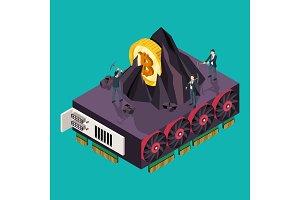 GPU mining Bitcoin concept. Isometric vector illustration