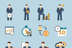 Time management flat icons set