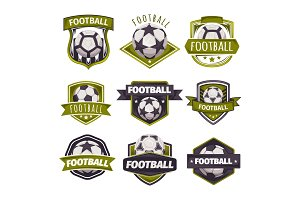 Set of logos, emblems on the theme of soccer, football