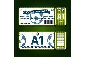 Football, soccer ticket card design Vector illustration