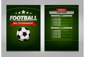 Soccer football champions final scoreboard table template Vector