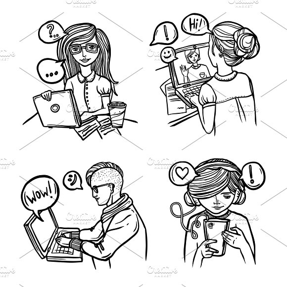 People Chatting Sketch Icons Set