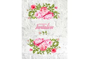 Invitation list with rose flowers.