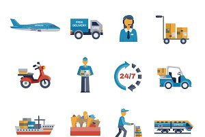 Delivery icons flat set