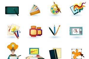 Graphic designer icons set
