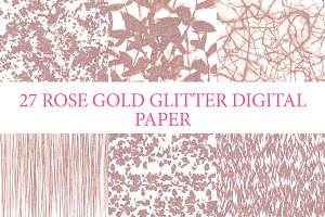 27 Pack Rose Gold Digital Papers