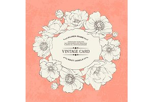 Poppies vintage card design.