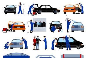 Automatic car wash service set