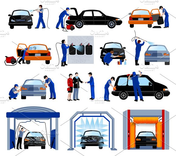 Automatic Car Wash Service Set